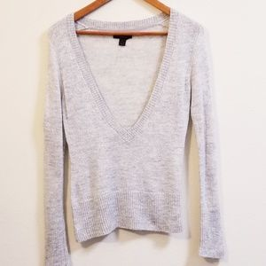 EXPRESS Blingy Silver Grey Deep V-Neck Sweater